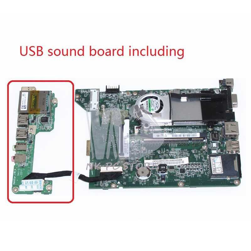 MBS0506001 MB.S0506.001  For Acer aspire one ZG5 A110 A150 laptop motherboard DA0ZG5MB8G0 With USB sound board DDR2 original new al12b32 laptop battery for acer aspire one 725 756 v5 171 b113 b113m al12x32 al12a31 al12b31 al12b32 2500mah