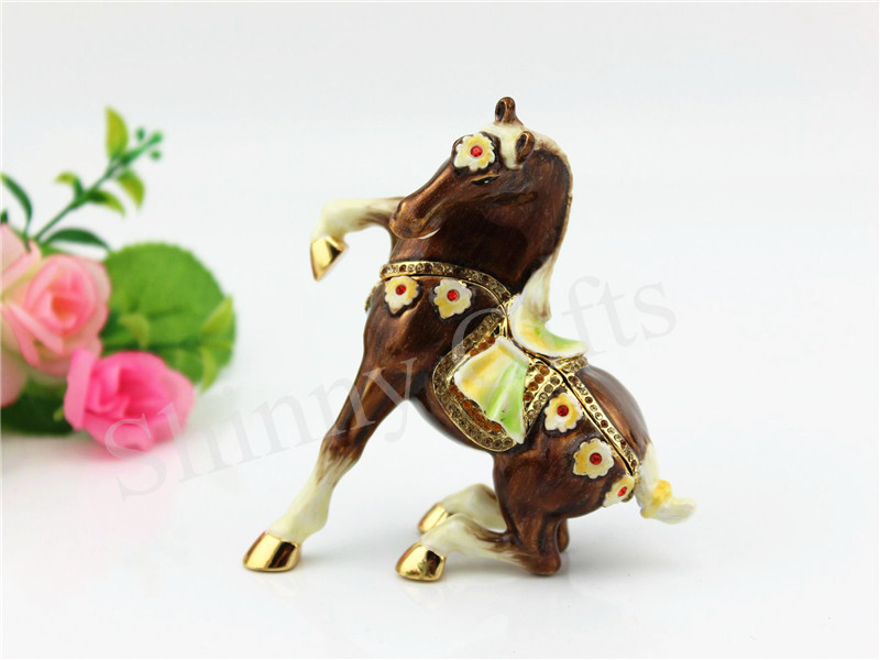 Enamel Handmade Horse Trinket Box Home Decor Craft New Year Gifts Christmas Gifts