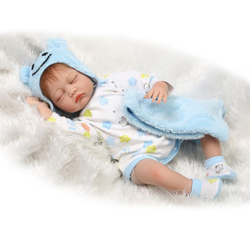 Lifelike Realistic Dolls Reborn Babies Silicone Reborn Baby Dolls for Girls Children,20 Inch Newborn Sleeping Doll with Clothes short curl hair lifelike reborn toddler dolls with 20inch baby doll clothes hot welcome lifelike baby dolls for children as gift