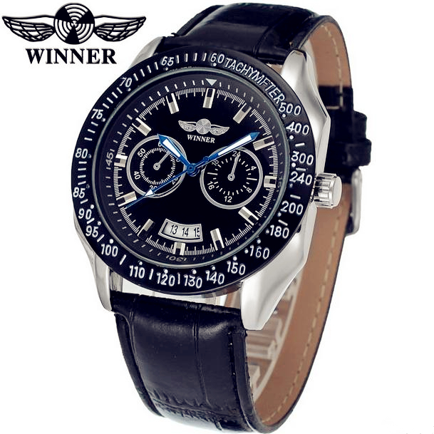 Fashion WINNER Men Luxury Brand Date Leather Band Casual Watch Automatic Mechanical Wristwatches Gift Box Relogio Releges 2016 fashion winner men luxury brand cool skeleton leather band watch automatic mechanical wristwatches gift box relogio releges 2016
