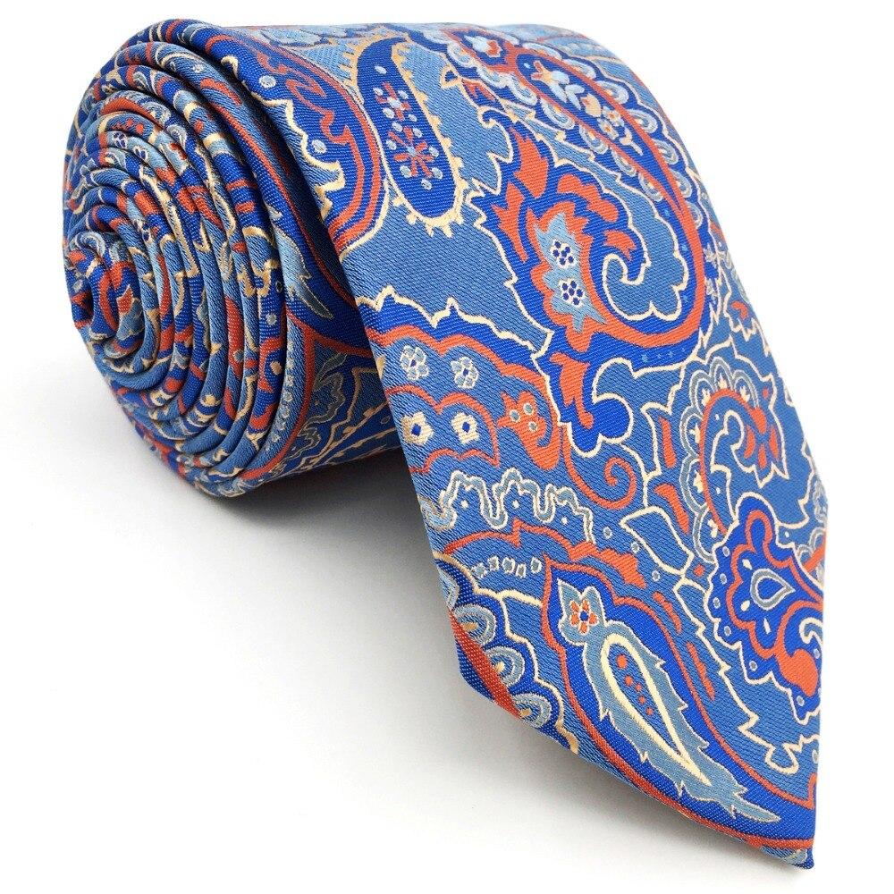 P16 Extra long size Paisley Floral Blue Orange Multicolor Mens Neckties Matching Hanky 100% Silk Jacquard Woven Handmade Fashion