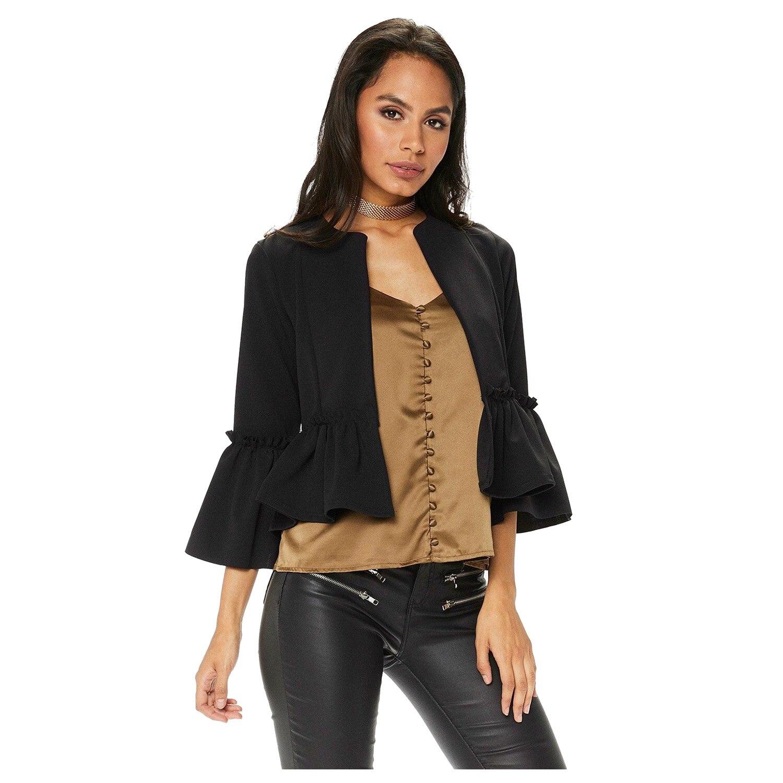 Women's Elegant New Spring Autumn Ruffle Frill Flare Sleeve Open Front Office Short Coat Fashion   Basic     Jacket   Ladies Slim