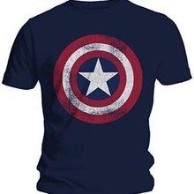 Hot 2017 Fashion Men T-Shirts Captain America Distressed Shi