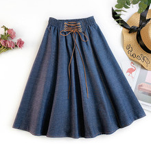 AcFirst Blue Women Skirts Women High Waist Knee-Length Long Skirts A-line Clothing Plus Size Lace Up Cotton Spring Skirts
