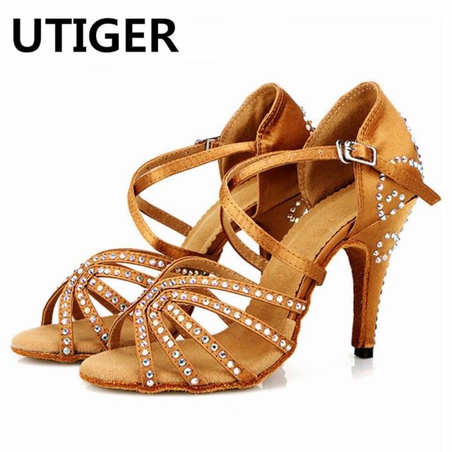 Bronze Red Satin Latin Dance Shoes Women s Rhinestones Salsa Party Shoes  7cm 8cm 10cm High Heeled Soft outsole Dancing ShoeWD358 7b3b5fbfb314