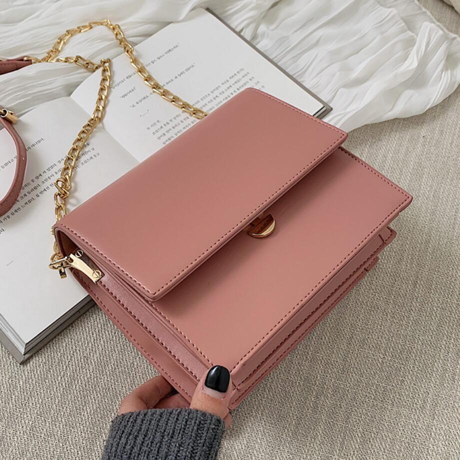 Women's Designer Luxury Brand Handbag 2020 Fashion New High Quality PU Leather Flip Square Package Simple Shoulder Messenger Bag