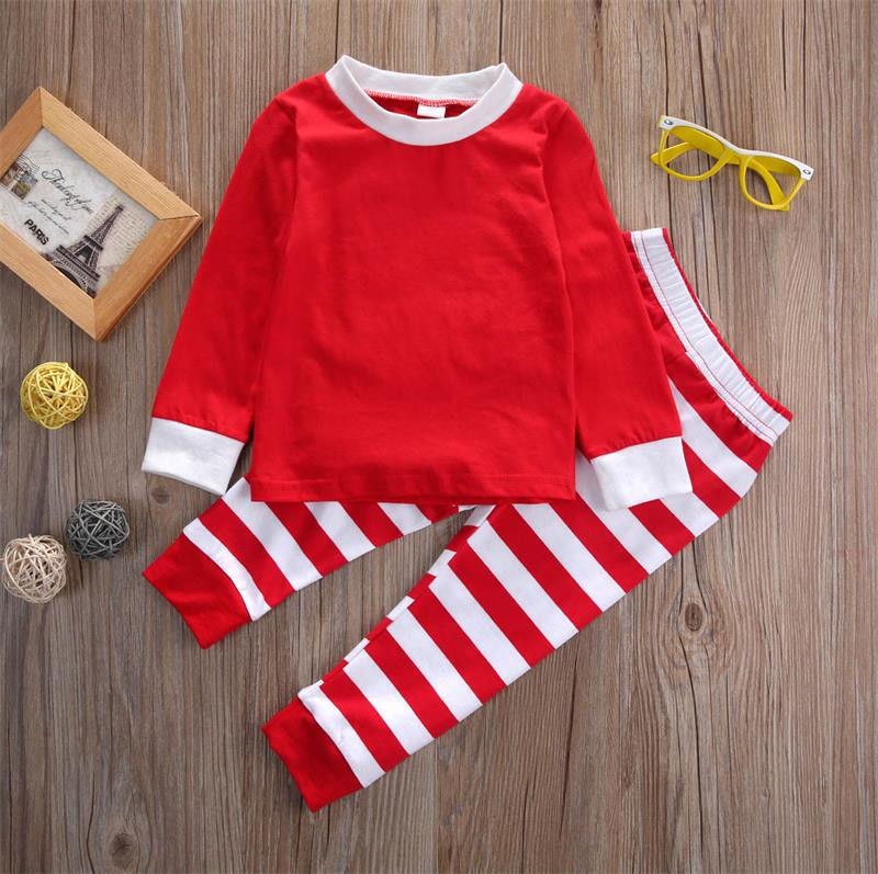 Autumn Winter 2pcs Toddler Kids long sleeve red set Baby Boys Girls Striped  Outfits Christmas Pajamas Sleepwear Set-in Pajama Sets from Mother   Kids  on ... afb63ece1