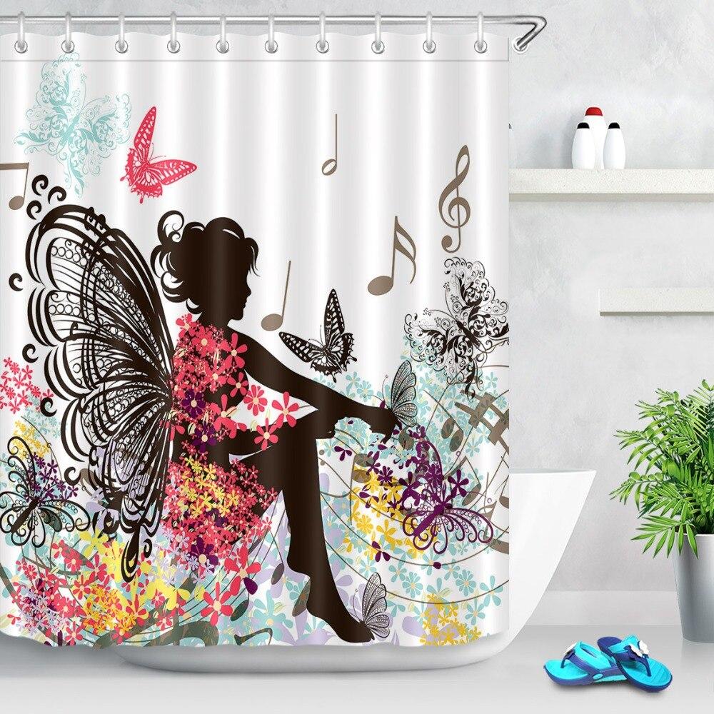 Black White Floral Shower Curtain