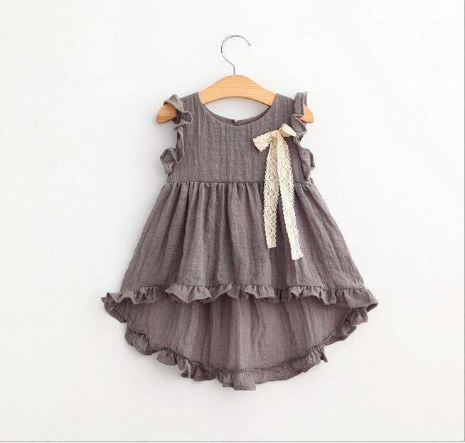 vintage Girl Solid Cotton Linen Dress Toddler Baby Kid Party Blouse Clothes