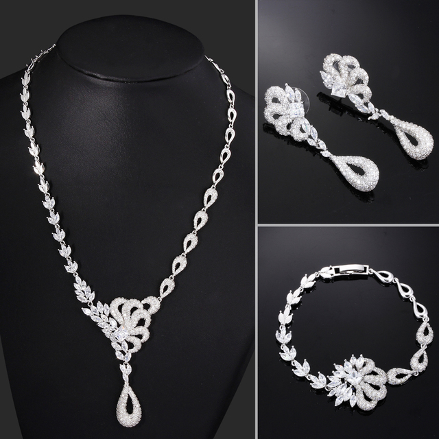 Autumn Winter AAA Cubic Zirconia wedding jewelry sets Cadmium Free Allergy Free Bridal Jewelry Sets
