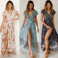 Women's Boho Floral Summer Long Dress V-Neck Short Sleeve Bandge Split Party Evening Beach Short Long Maxi Dress Sundress
