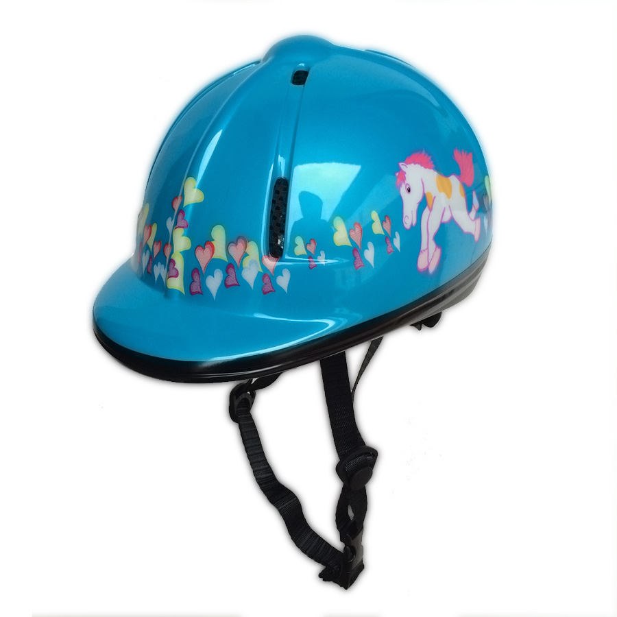 High Quality Cartoon nattier blue Horse Riding Helmets PVC+EPS Breathable Equestrian Helmets Child Horse Rider Helmet 48-54 CM