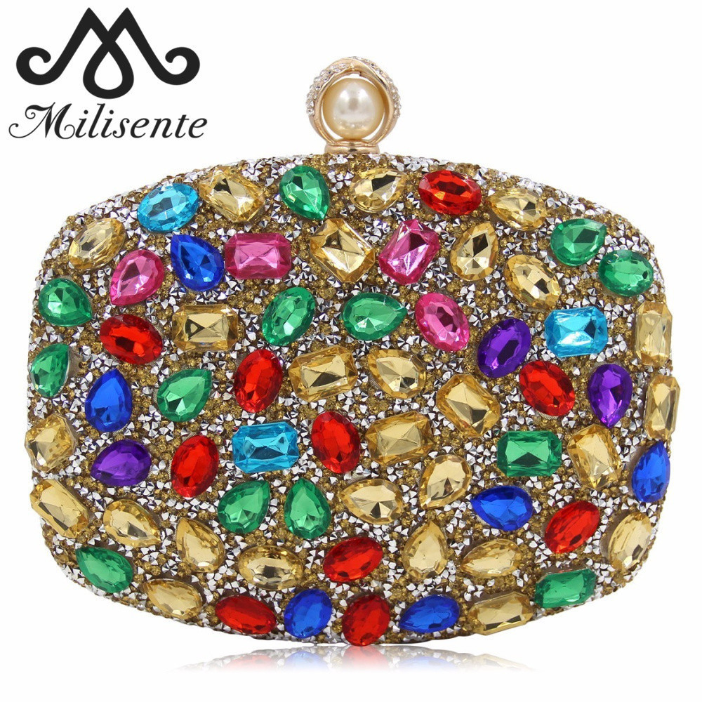 Milisente Women Colorful Clutch Bags Lady Diamond Evening Bag Female Fashion Wedding Clutches milisente beaded embroidery tassel bags women party bag small evening clutches lady wedding clutch chain