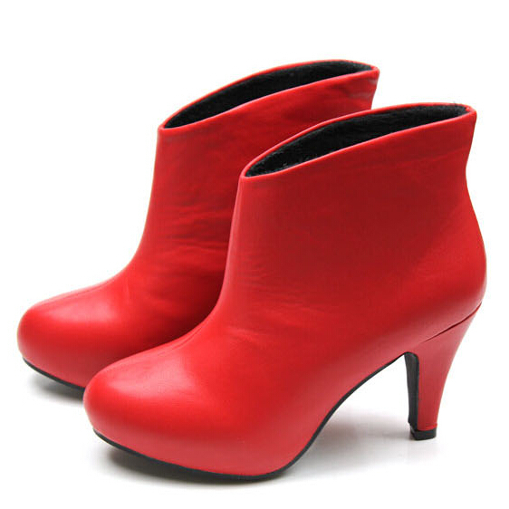 Aliexpress.com : Buy 2014 Autumn Winter PU Leather Red High Heels ...
