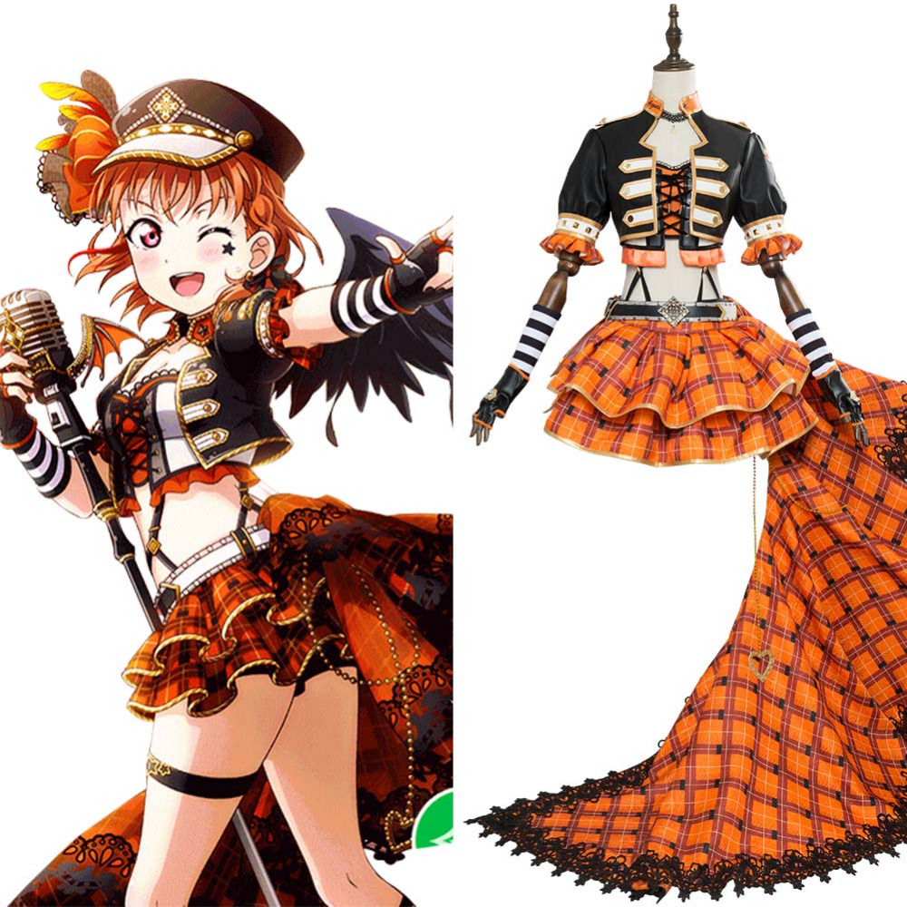 Love Live! Sunshine!! Chika Takami Punk Rock Cosplay Costume Adult Women Men Full Sets Dress Outfit Halloween Cosplay Costume