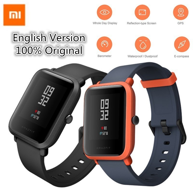 Original Xiaomi Huami Amazfit Smart Watch Bip Bit Face Mijia GPS Fitness Tacker IP68 Waterproof Smartwatch Heart Rate english version original xiaomi huami amazfit youth smart watch bip bit face gps fitness tacker heart rate baro ip68 waterproof