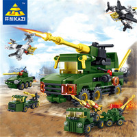 8Pcs/Set Funny Military Vehicle Army Bricks Building Blocks Tank Fighter Weapon Kids Assembly Educational Gift Toys for Children