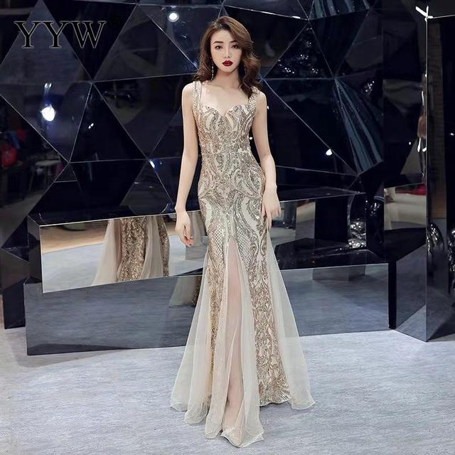 Shinny Gold Sequined V Neck Sleeveless Elegant Evening Dresses Sexy Robe De Soiree Formal Dress Luxury Mesh Club Party Vestidos 1