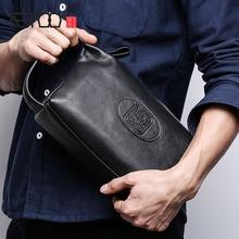 AETOO Handbag male genuine leather retro large day clutch  men's head cowhide business clutch men mobile phone bag недорого
