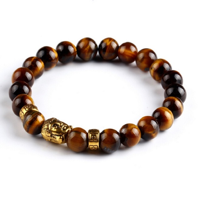 960261c1f9 Natural Stone Tiger Eye Beads Buddha Bracelets For Men And Women Elastic  Rope Chain Charm Bracelets