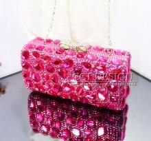 Freies verschiffen rosa kristall diamant hochzeit braut taschen handmade customized kristalle tag kupplung taschen abend partytüten