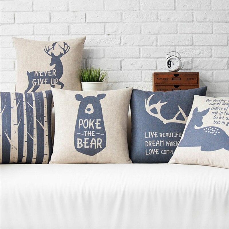 Vintage Style Nordic Deer Bears Home Decor Pillow Navy Trees Linen Cotton Cushion Decorative Throw Pillows