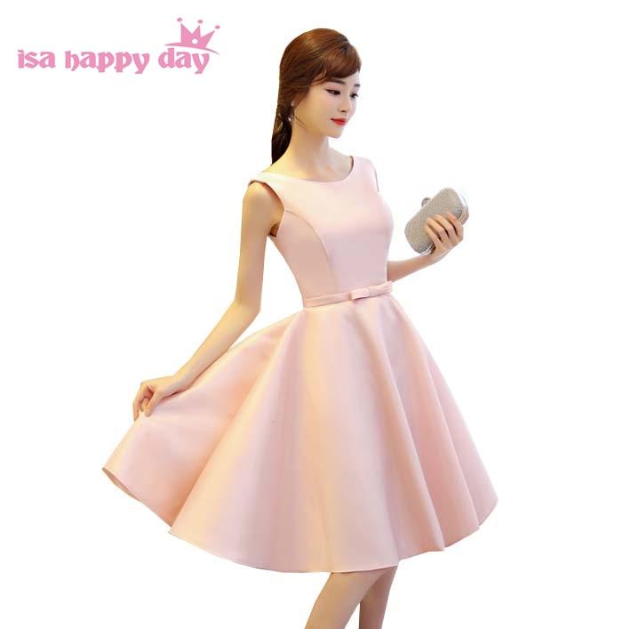 newest short corset elegant princess satin pink pageant prom dress ...