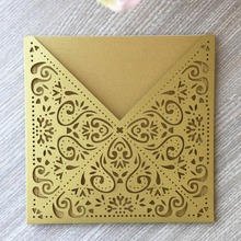 50Pcs Pearl paper Luxurious Wedding Decoration Supplies Gold Laser Cut Wedding Invitations Elegant Wedding Invitation Cards