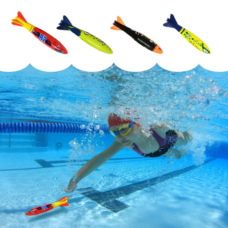 4 Pcs / Pack Torpedo Rocket Throwing Toy Swimming Pool Diving Game Summer Torpedo Bandits Children Underwater Dive Sticks Toys