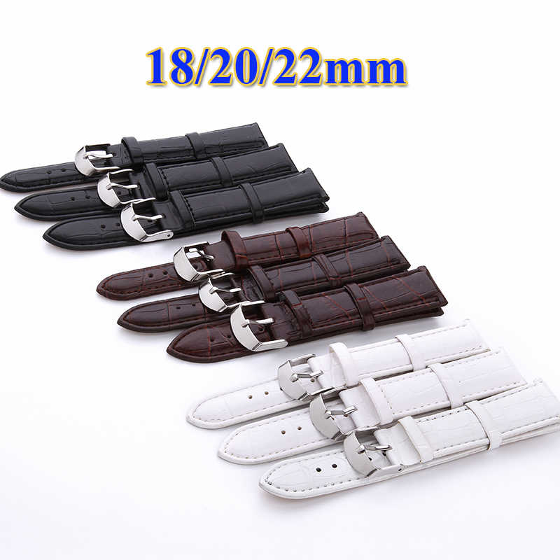 Watch Band PU Leather Straps 18mm 20mm 22mm Watch Accessories High Quality Black  Brown White  Colors Watchbands