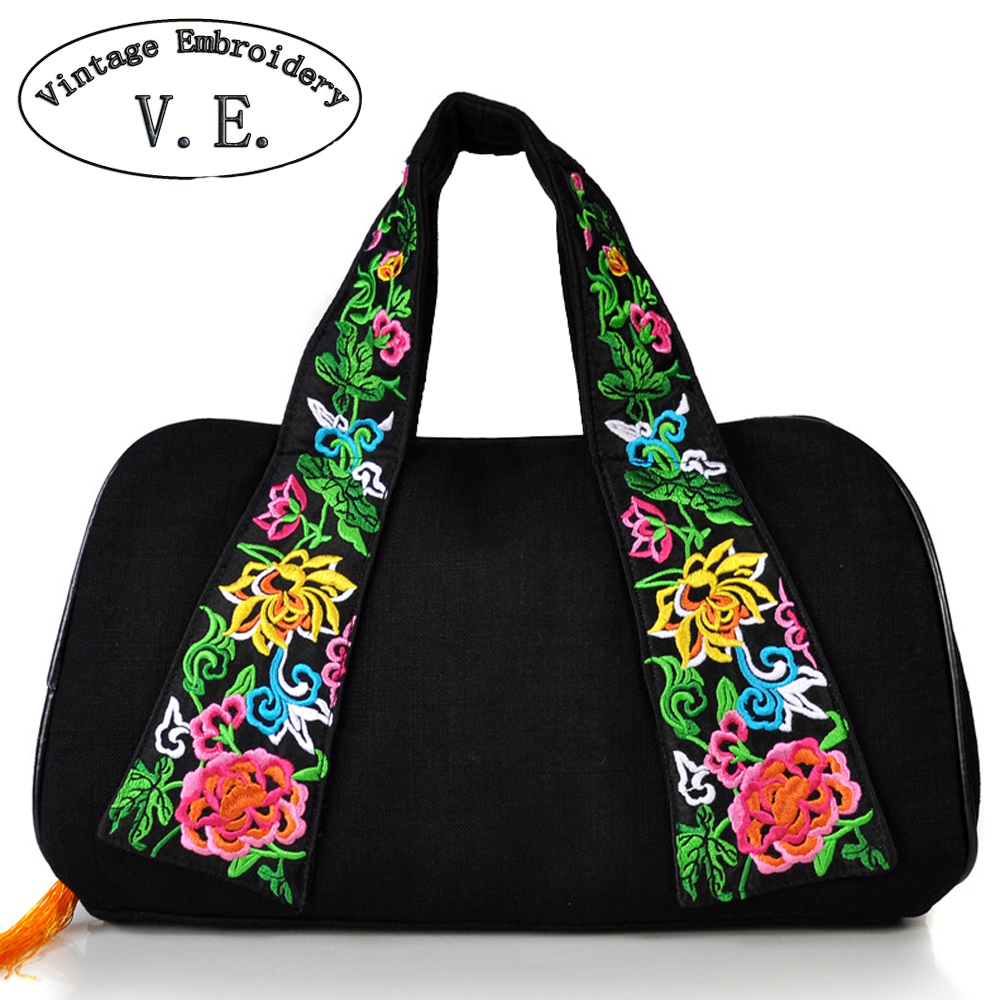 Vintage Embroidery Women Travel Bag Large Capacity Canvas Printing Bags Portable Women's Tote Bag Travel Bags Women tangimp drawstring backpacks embroidery dear my universe cherry rocket printing canvas softback man women harajuku bags 2018
