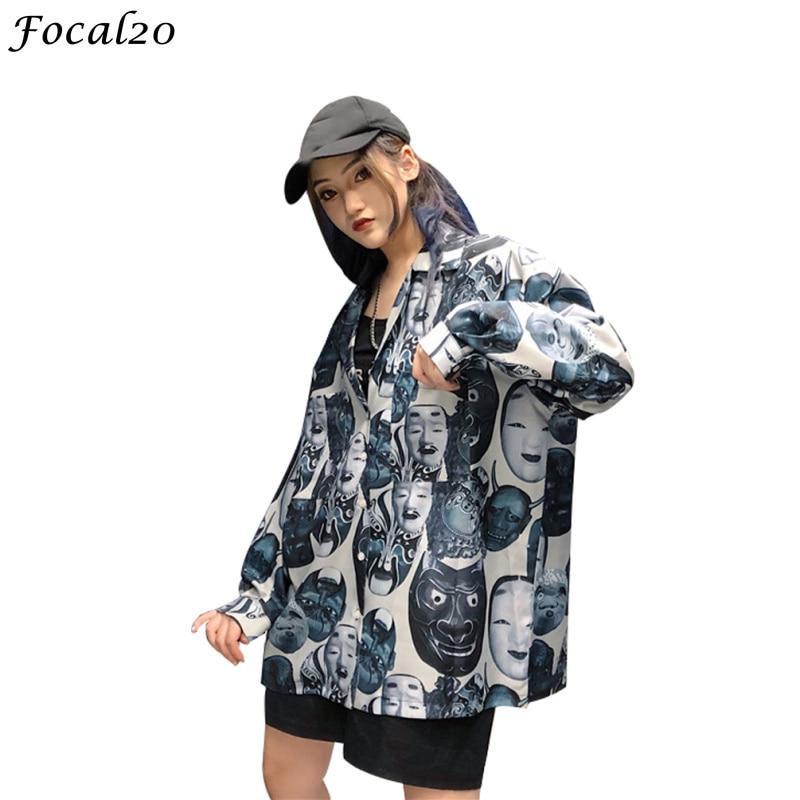 Focal20 Streetwear Demon Print Women   Blouse     Shirt   Summer Spring Turn-down Collar Oversize Female   Blouse   Top