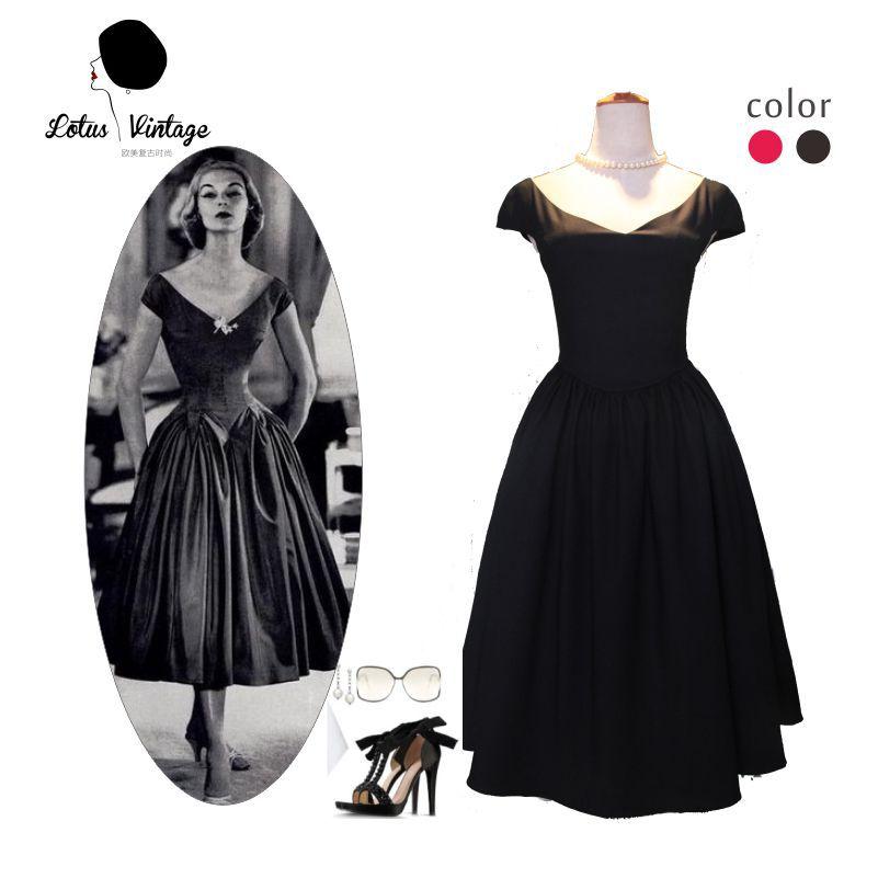 US $47.5 5% OFF|Kobiety w stylu vintage 50 s Audrey Hepburn styl mała czarna sukienka z dekoltem w serek huśtawka sukienki midi plus rozmiar vestidos