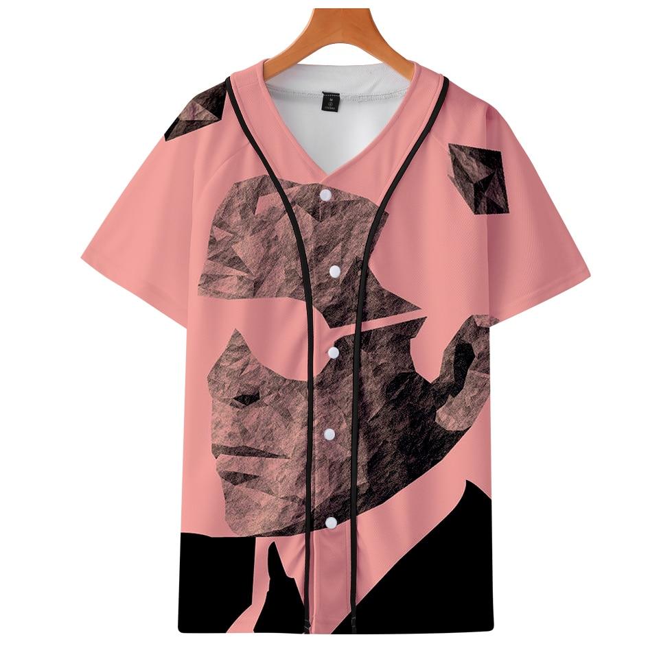 Able Luckyfriday Karl Lagerfeld Baseball Tshirt Single-breasted Harajuku Women/men Clothes Short Sleeve Sweatshirt Streetwear 2019