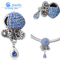 The Ocean Blue Octopus Crystal Charms Pendants European Beads 925 Sterling Silver Animal Charms Fit Pendants Snake Bracelet S339