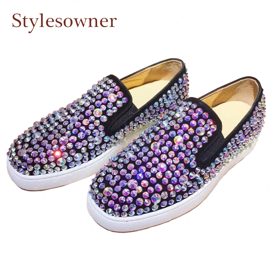 Stylesowner bling full multi rhinestone women shoes genuine leather round toe slip on loafers all match cozy women casual shoes nayiduyun women genuine leather wedge high heel pumps platform creepers round toe slip on casual shoes boots wedge sneakers