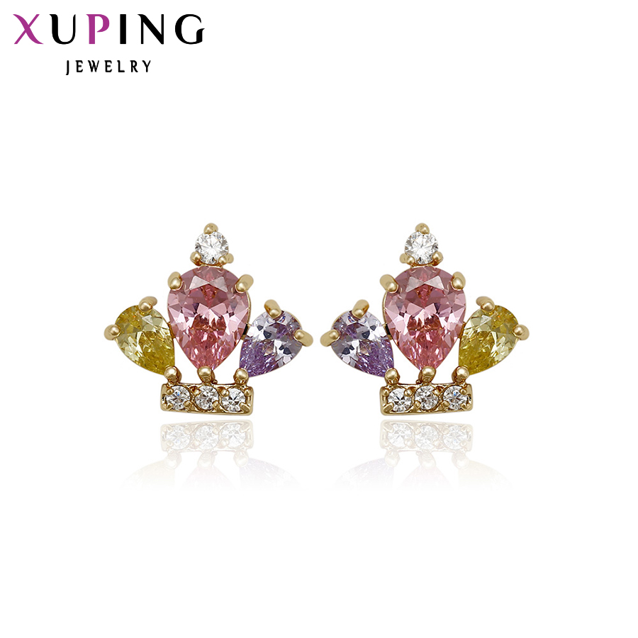 11.11 Deals Xuping Elegant Earring Crown Plated Earring Stud with Synthetic CZ Earrings For Women Special Design 91033