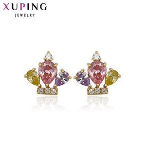 Xuping Jewelry Elegant Earring Crown Plated Earring Studs Style Special Design Earrings For Women Gifts 91033