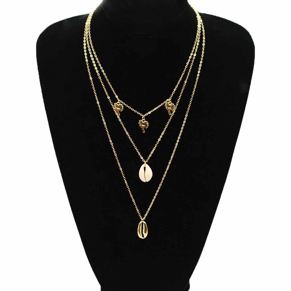 Simple Palm Tree Natural Shell Multilayer Necklace Pendants Long Clavicle Choker Chain Necklace Women Jewelry