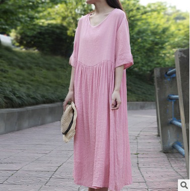 New product launches in the summer of 2017, the original design loose big yards 100% cotton leisure women dress