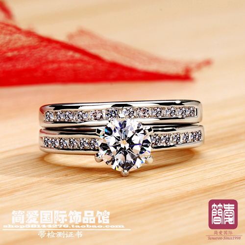 Luxury quality 1ct cushion cut NSCD synthetic stone wedding ring set for women solid silver engagement