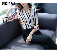 MIKIYPAN 2019 New Spring Style slim silk Shirt for Women Tops Full sleeved printing Blouses with natural silk for office Lady