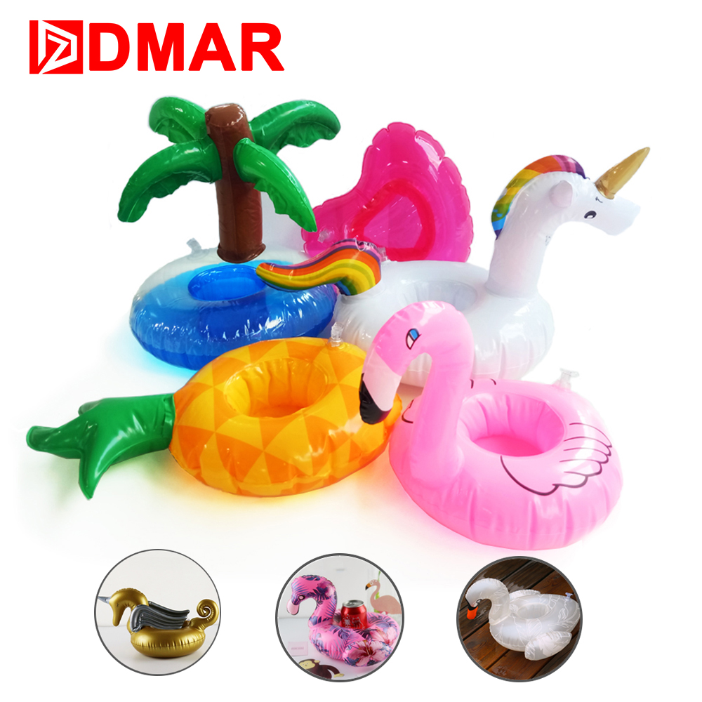DMAR Mini Inflatable Unicorn Flamingo Donut Pool Float Toys Drink Floats Cups Holder Swimming Ring Party Toys Beach Kids Adults