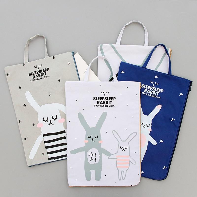 A4 Canvas File Bag Cartoon Rabbit Oxford Zipper Bag Briefcase Document Bag Dossier De Arquivo Office School
