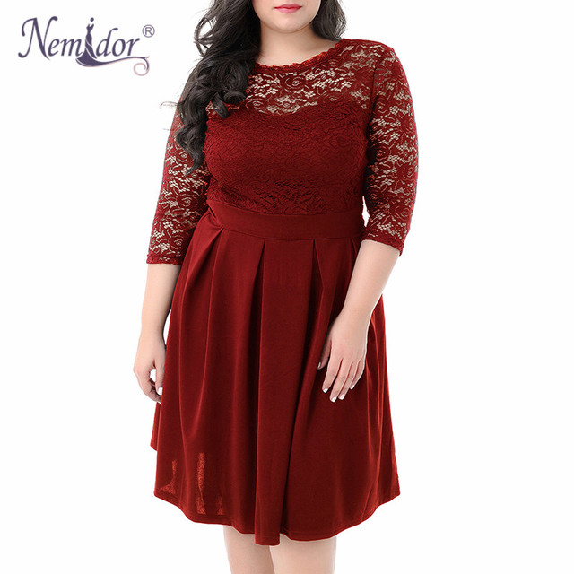 Women Vintage 3/4 Sleeve Casual Lace Top Overlay A-line Dress O-neck Plus Size 8XL 9XL V-low Back Party Midi Swing Dress