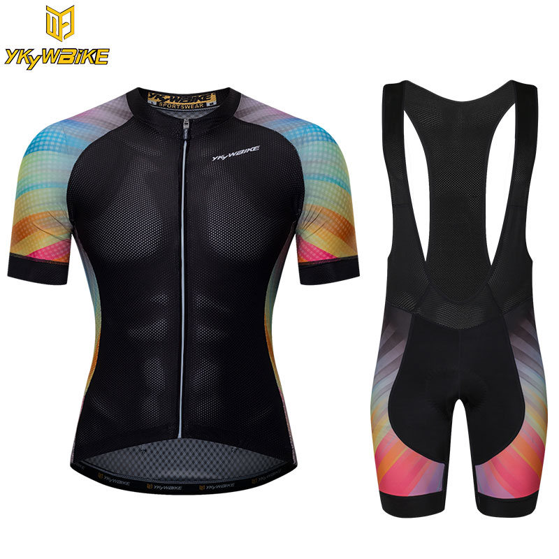 YKYWBIKE 2018 Cycling Bib Sets Men Quick Dry Short Sleeve Cycling Clothing Pro Team MTB Bicycle Bike Jersey Set Ropa Ciclismo polyester summer breathable cycling jerseys pro team italia short sleeve bike clothing mtb ropa ciclismo bicycle maillot gel pad