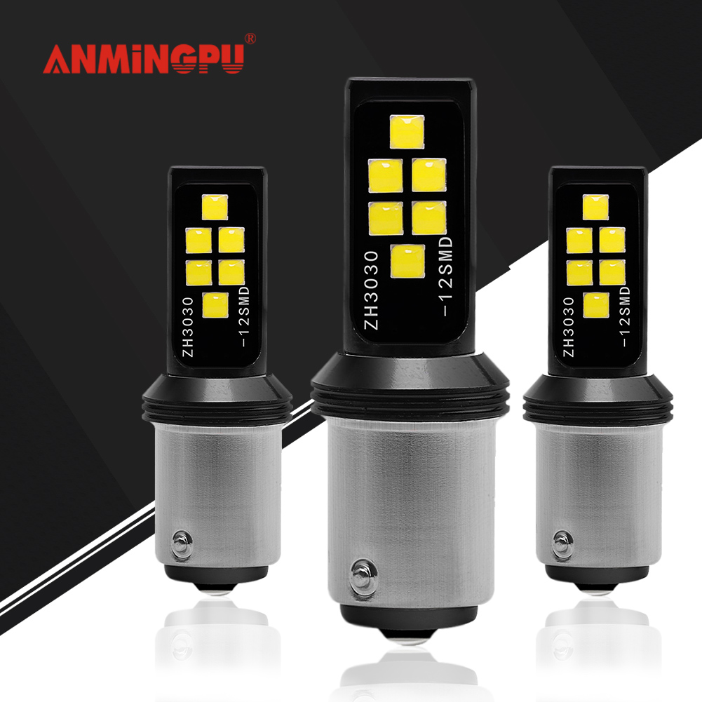 ANMINGPU 2x Signal Lamp P21/<font><b>5W</b></font> 1157 <font><b>Led</b></font> Bulb 3030SMD Bay15d <font><b>Led</b></font> 1156 <font><b>BA15S</b></font> P21W <font><b>LED</b></font> BAU15S PY21W Canbus Car <font><b>LED</b></font> Light <font><b>12V</b></font> <font><b>R5W</b></font> image