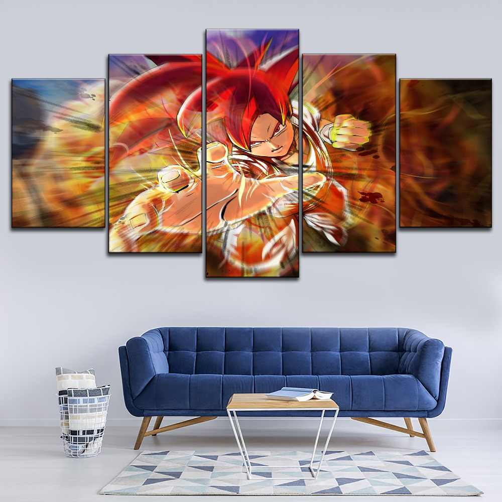 Цифровое искусство Дракон шар супер аниме красный волосы Гоку живопись 1 шт.. стильная картина современный Декор стены Топ-рейтинг холст печать плакат