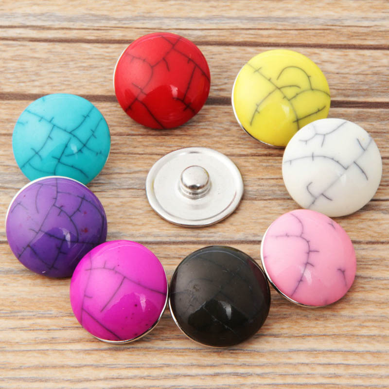10pcs/lot Mix Colors Metal press button 18mm resin diy snap button charm jewelry TZB60 image