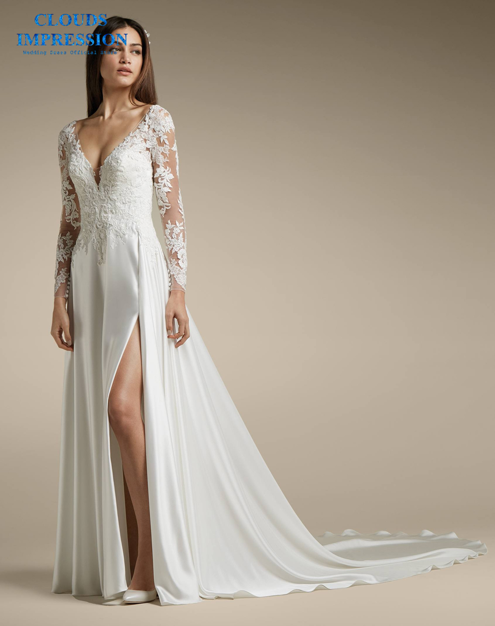 CLOUDS IMPRESSION Sexy Deep V neck A Line Wedding Dress 2019 Lace Beading Lustrous Satin Bridal